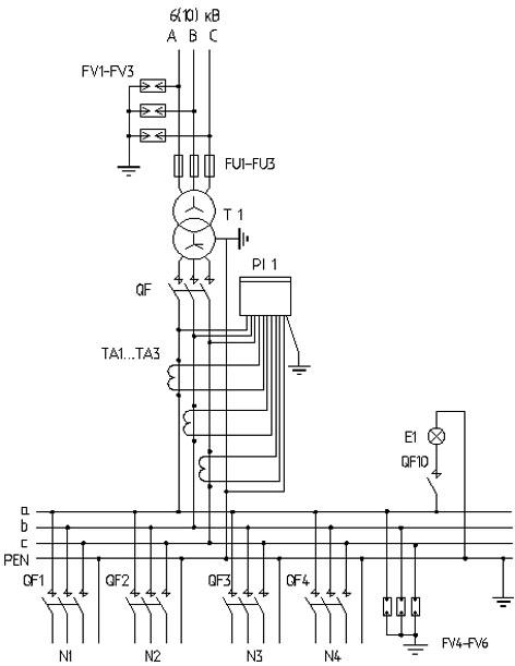 Принципиальная электрическая схема мачтовой подстанции типа КТПМ.