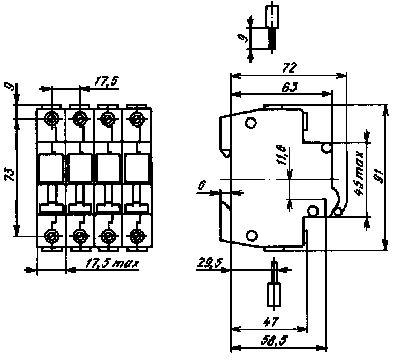 Автомат  ВА61-29 габариты